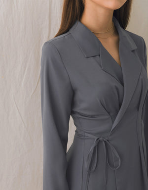 Sleek Suit-Collar Ribbon Cinched Waist Dress
