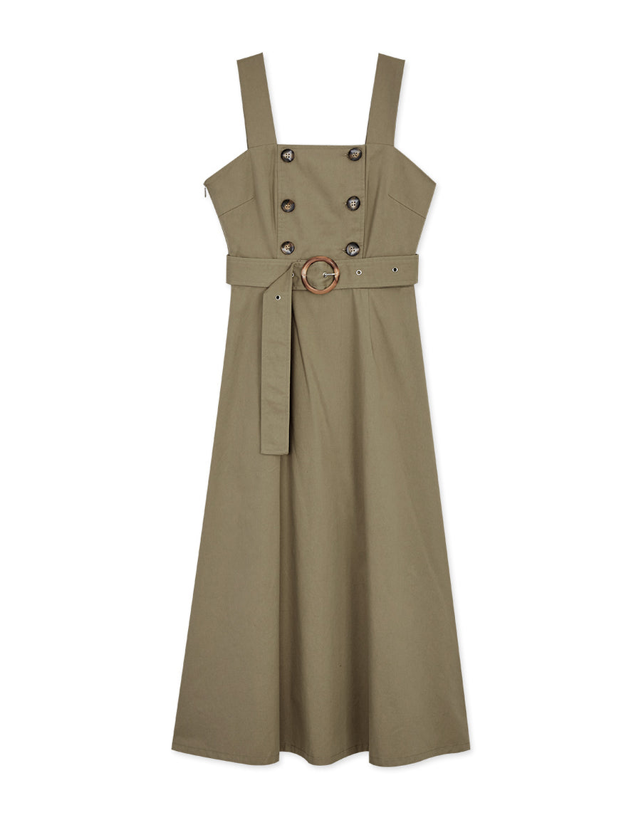 Vintage Square Neck Double-Breasted Belted Tank Dress