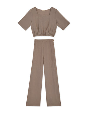 Square Neck Glen Check Top & Pants Set Wear