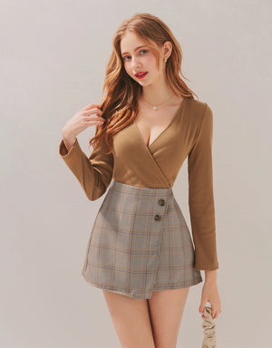 Crossover V-Neck Plaid Spliced Playsuit