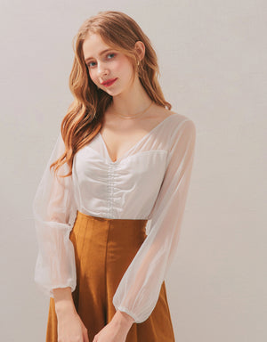 Fairy Sheer V-Neck Scrunch Top