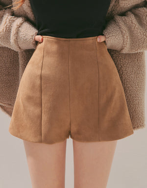 High-Waisted Slimming Suede Shorts