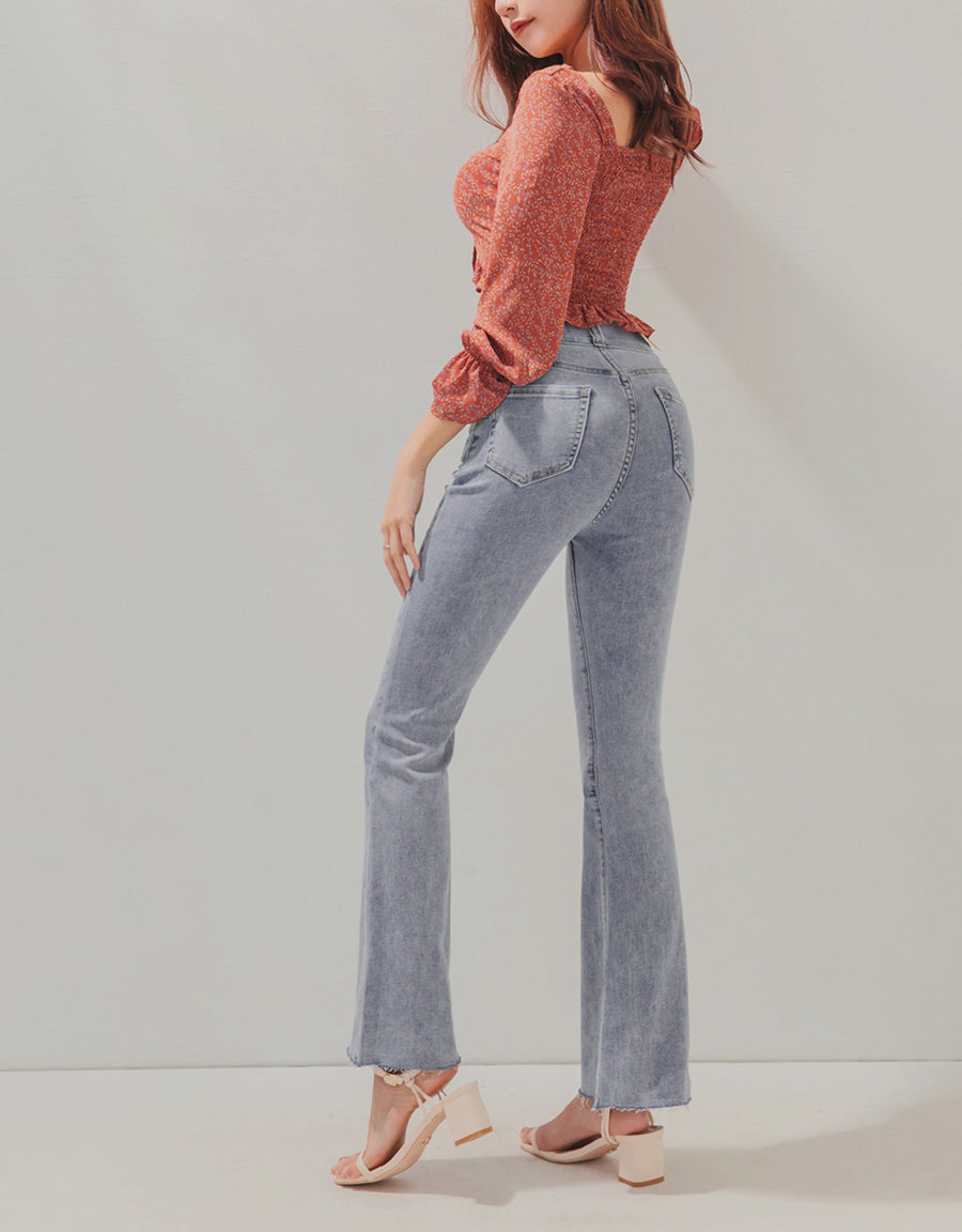 Regular Height- No Filter Shape-Up Slimming Denim Trumpet Pants