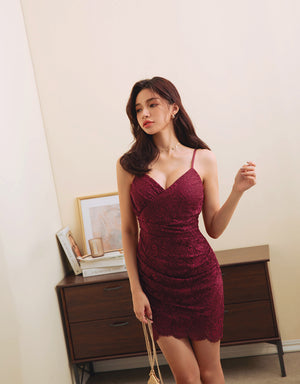 Eyelash Lace Thin Straps Mini Dress (With Padding)