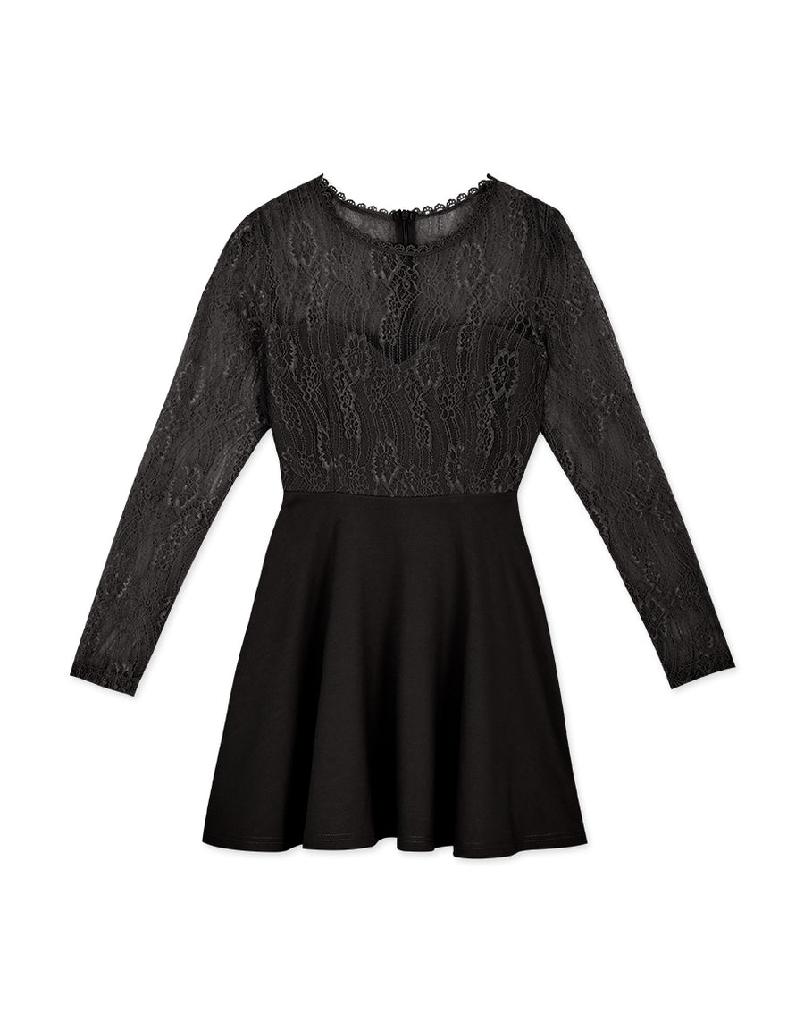 Exquisite Lace Spliced Flare Mini Dress