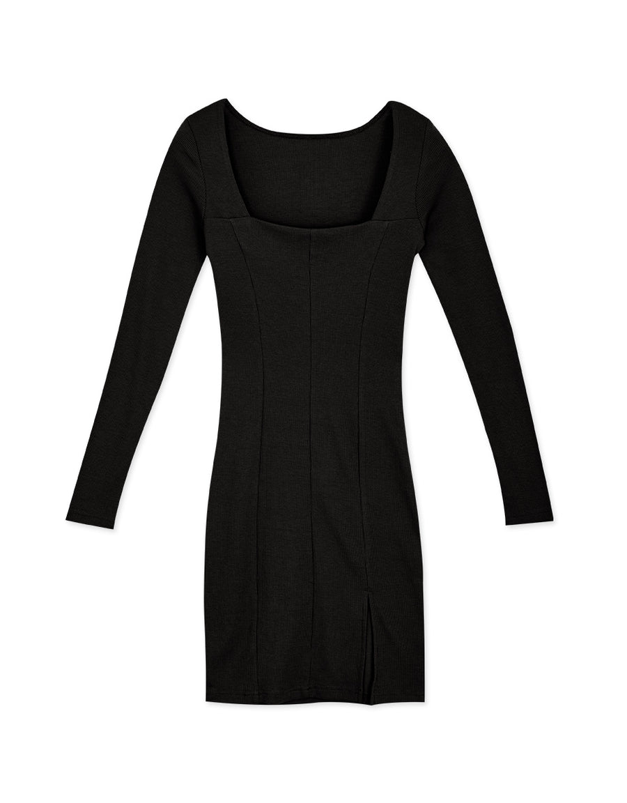 Western Square Neck Knitted Bodycon Slit Mini Dress