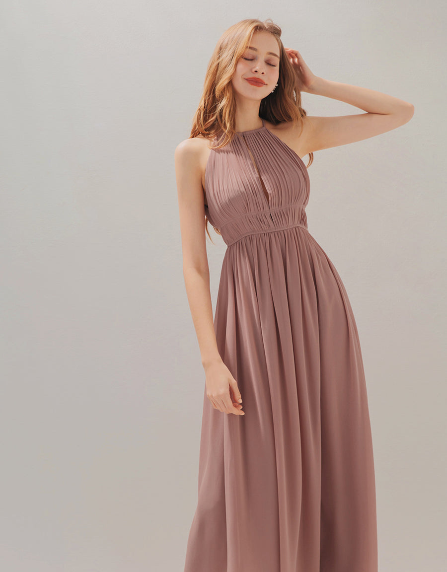 Fairy Pleated Halter Chiffon Maxi Dress