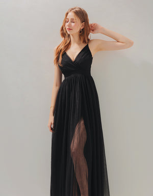 Sexy Deep V Mesh Slit Maxi Dress