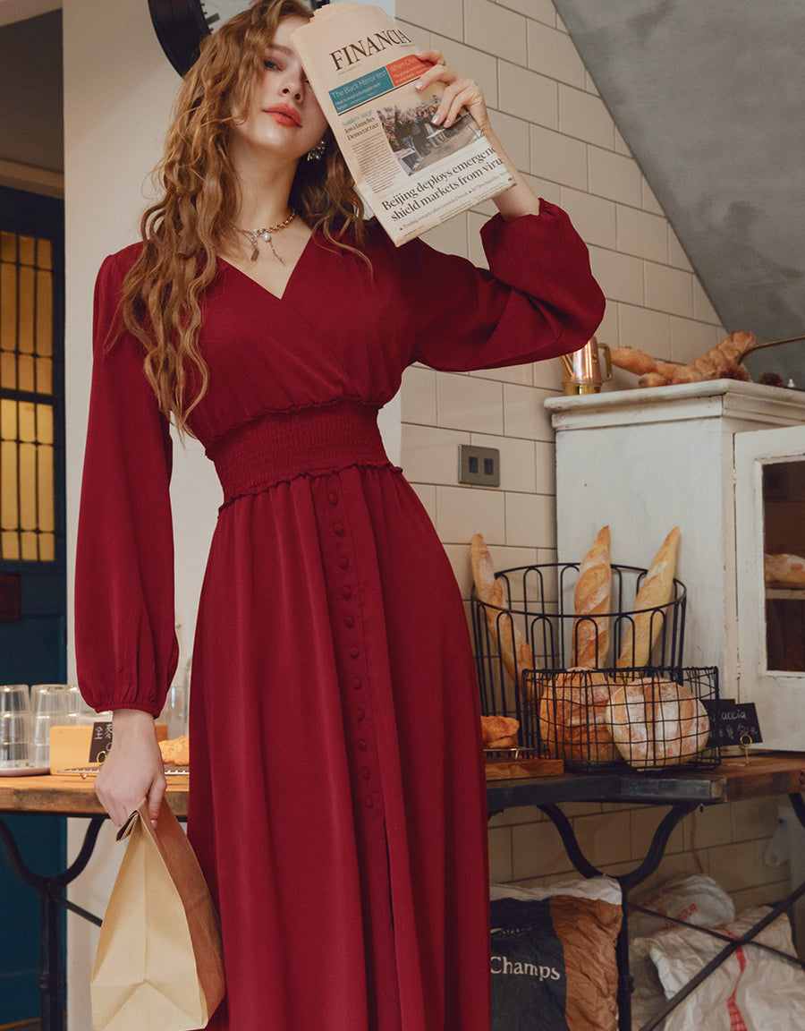 V-Neck Cinched Waist Button-Down Slit Maxi Dress