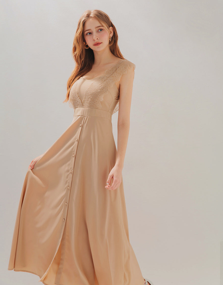 Fairy Lace Button Down Slit Maxi Dress (With Padding)