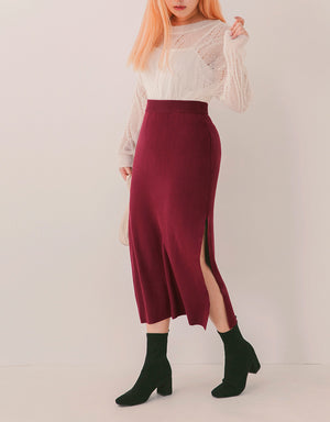 Versatile Side-Slit Knitted Skirt