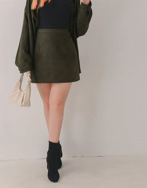 Textured Slimming Suede Mini Skirt