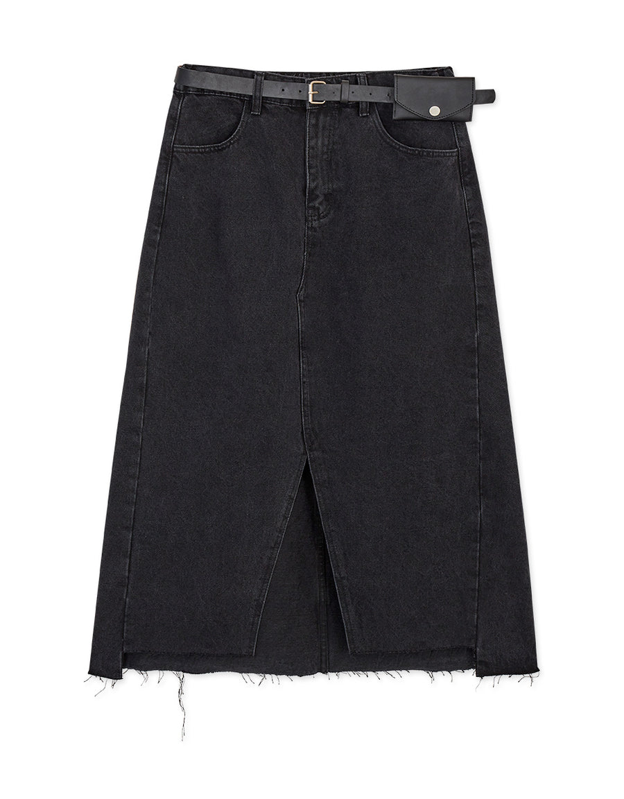 Chic Asymmetrical Slit Belted Denim Midi Skirt