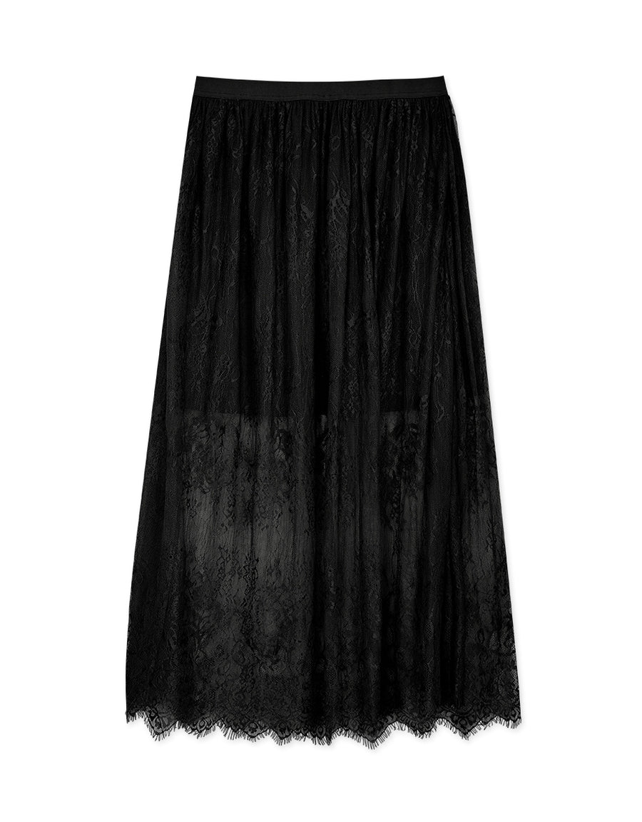 Textured Eyelash Lace Elastic Skirt