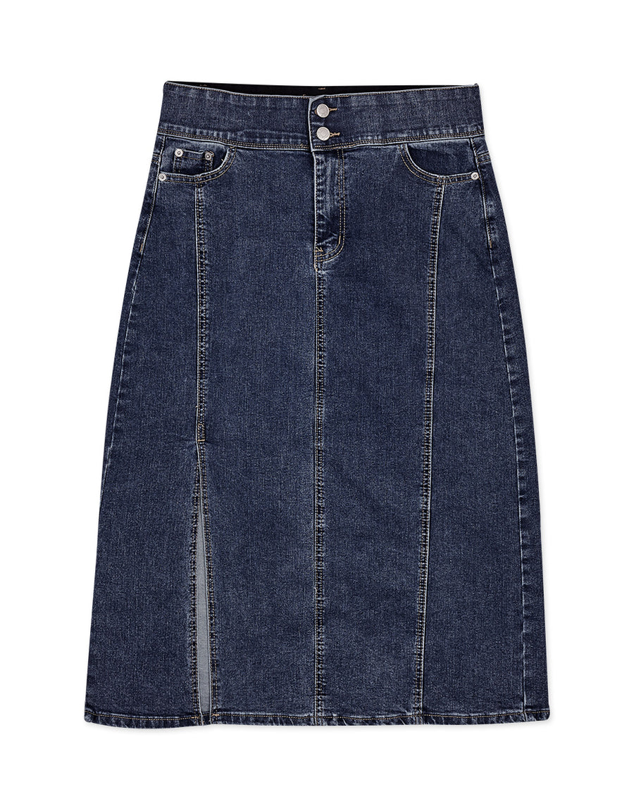 No Filter High-Waisted Slimming Slit Denim Midi Skirt