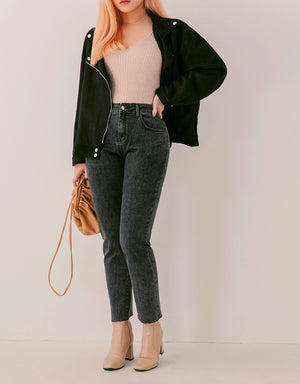 Slimming Washed Straight Denim Pants