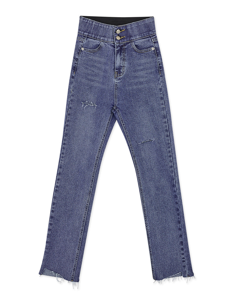 No Filter Shape-Up Slimming Straight-Leg Denim Pants