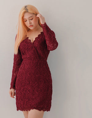 French Style Lace Fitted Mini Dress