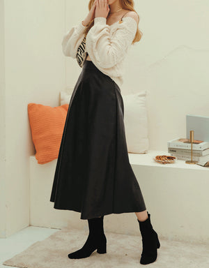 Chic Leather Flare Skirt