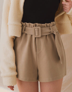 High-Waisted Paperbag Woollen Belted Shorts