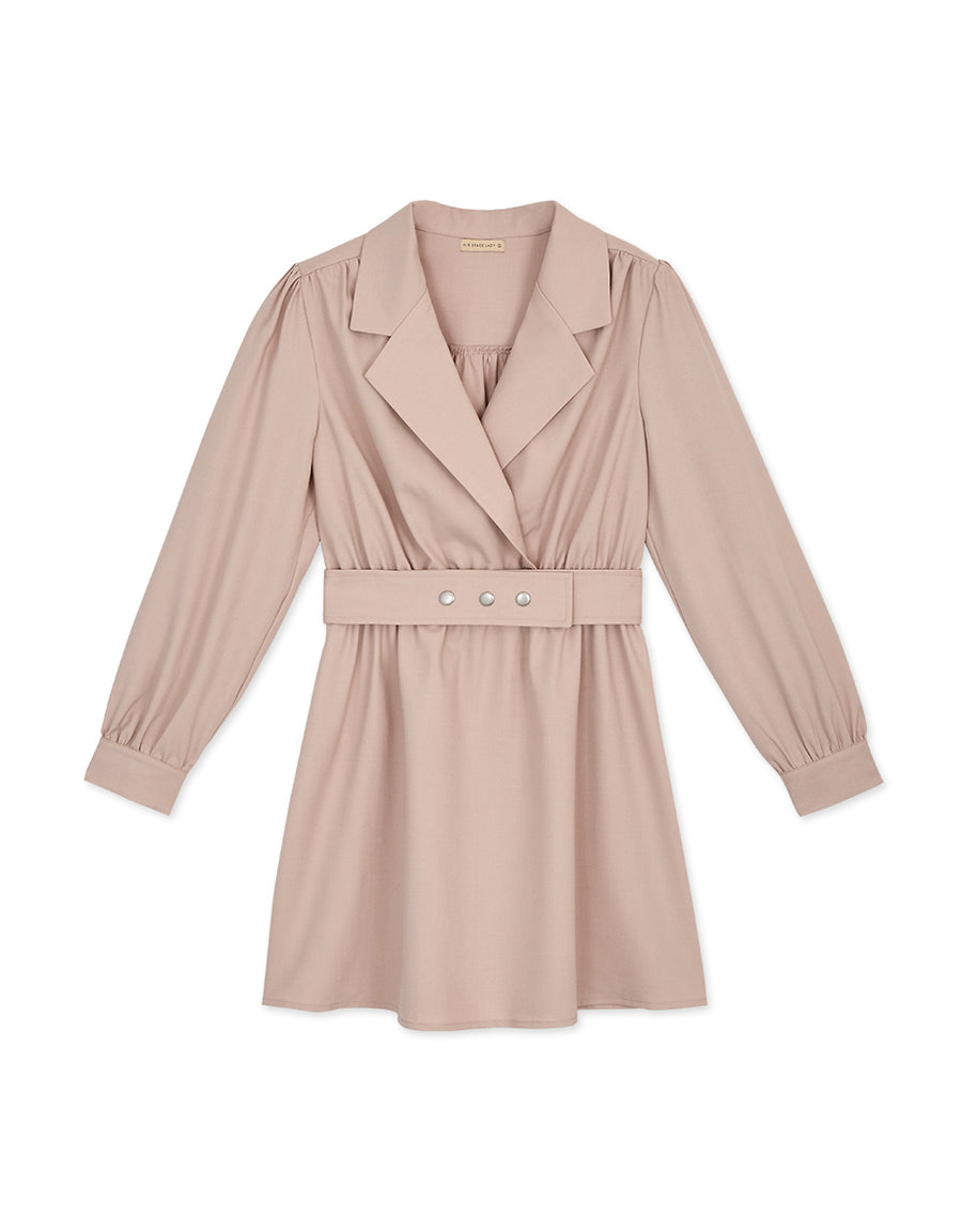 Sophisticated Suit-Collar Belted Mini Dress