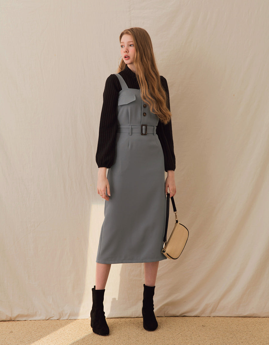 Button-Down Slimming Slit Belted Midi Dress