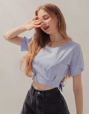 Ribbon-Back Pleated Crop Top