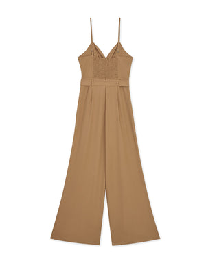 Knotted Cut-Out Waist Jumpsuit (With Belt)