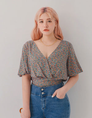 V-Neck Floral Puff Sleeves Crop Top