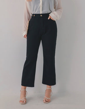 Side-Button Slimming Elastic Straight-Leg Pants