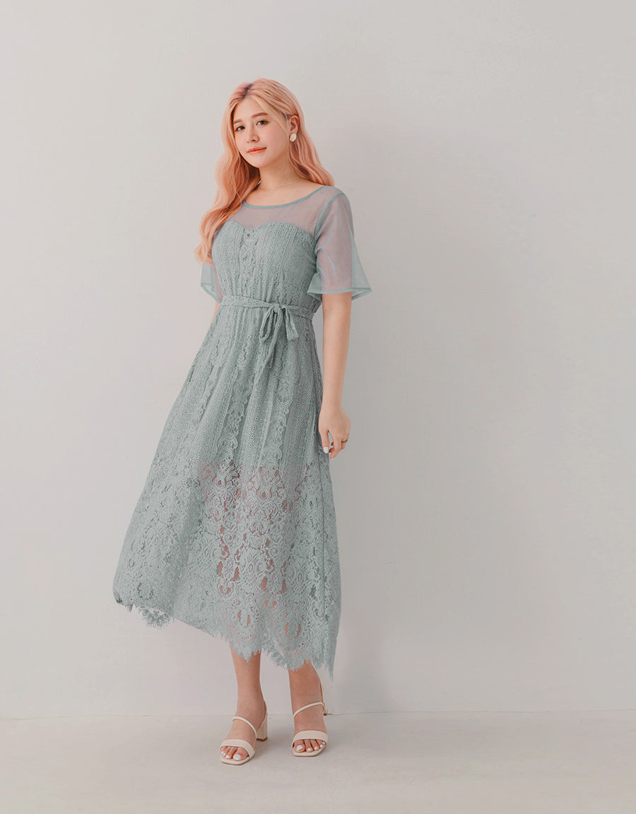 Mesh Splice Lace Sashed Maxi Dress