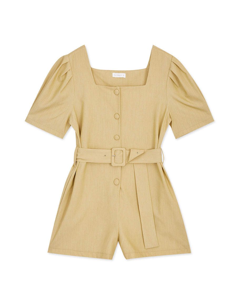 Square Neck Pleated Button-Down Belted Playsuit