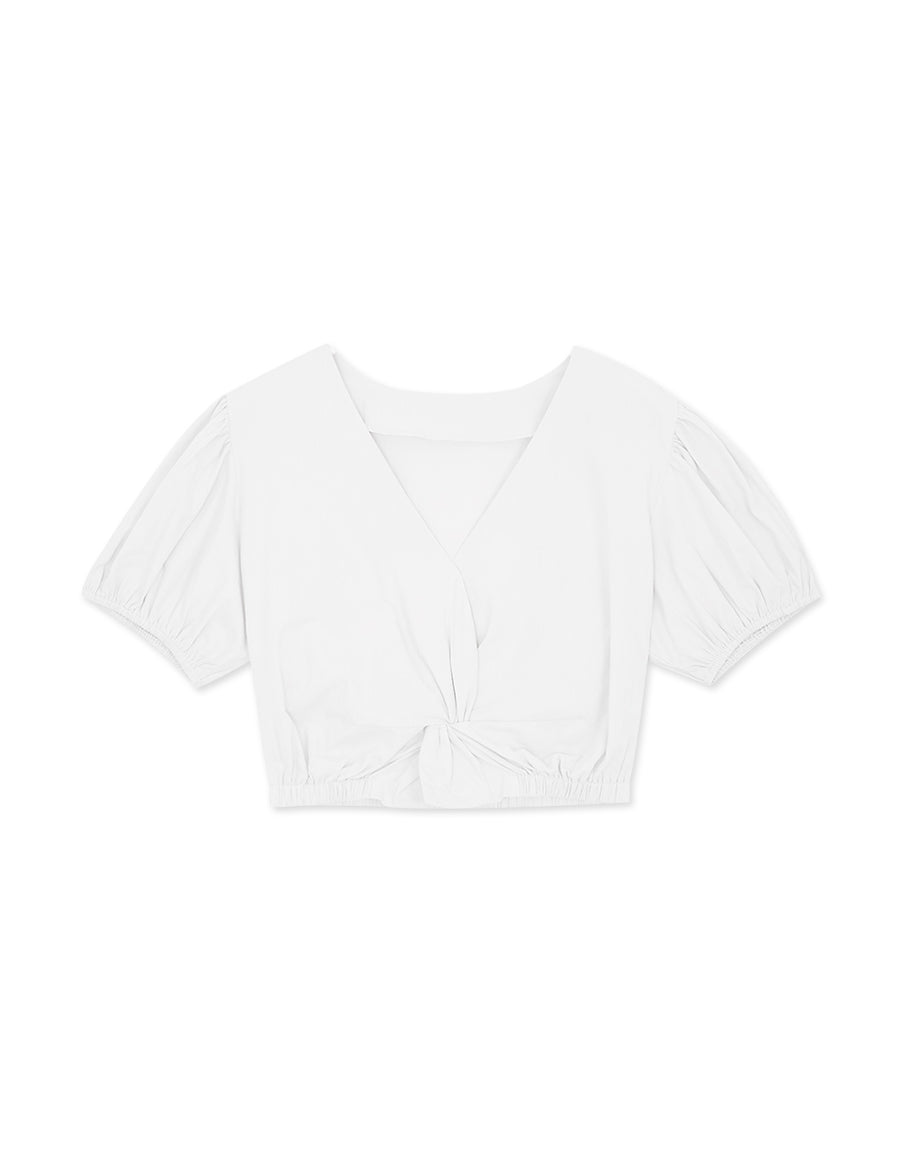 Knotted Puffy Sleeves Top