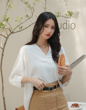 V-Notch Button Back Blouse