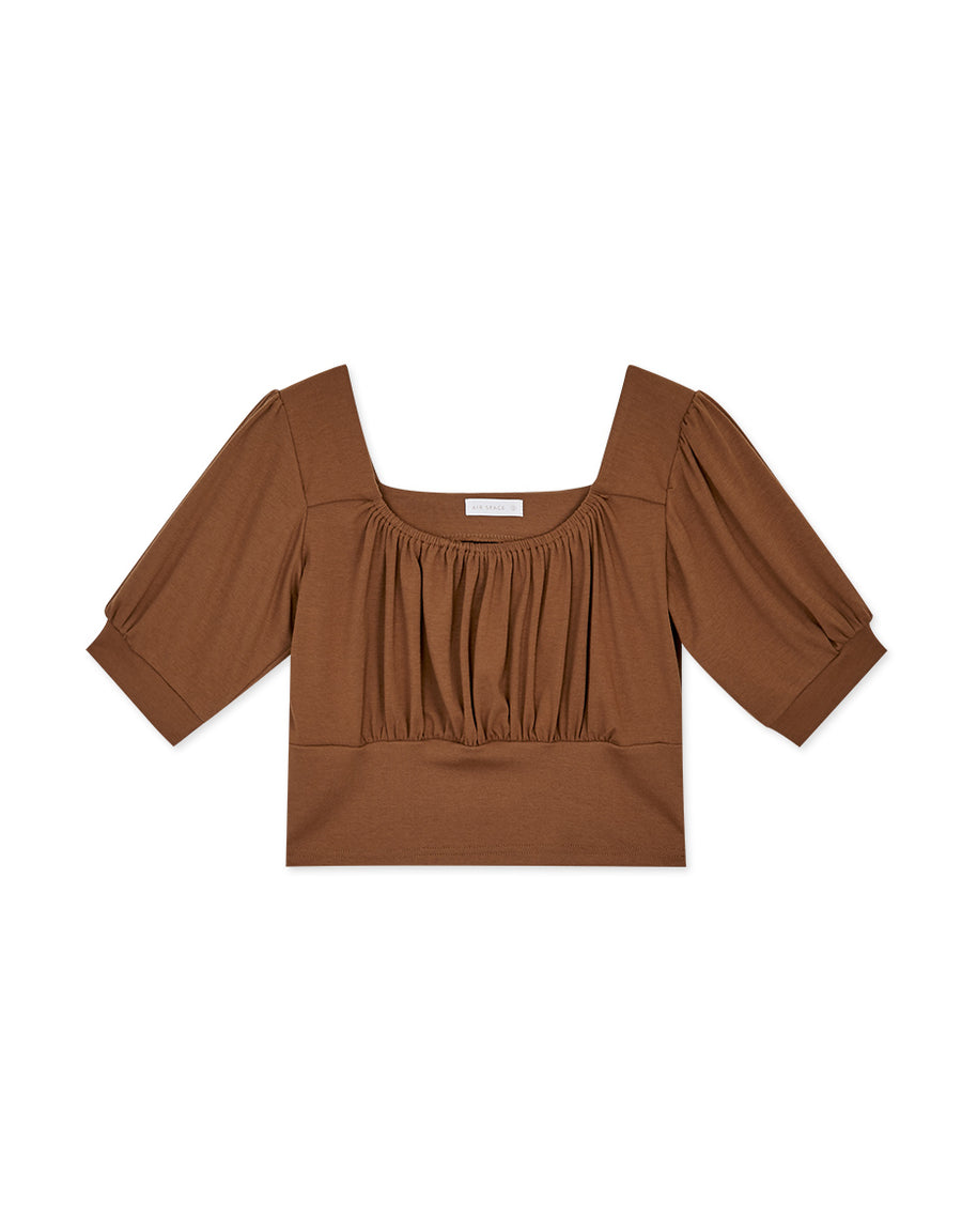 Ruched With Puffy Sleeves Crop Top