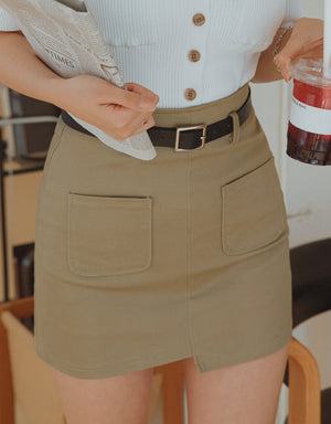 Asymmetrical Pocket Skort (With Belt)