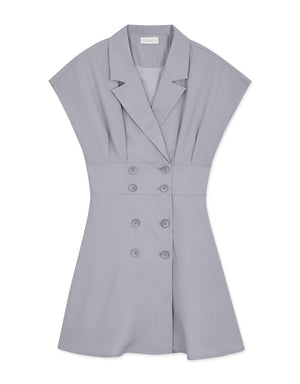 Double-Breasted Lapel Flared Dress