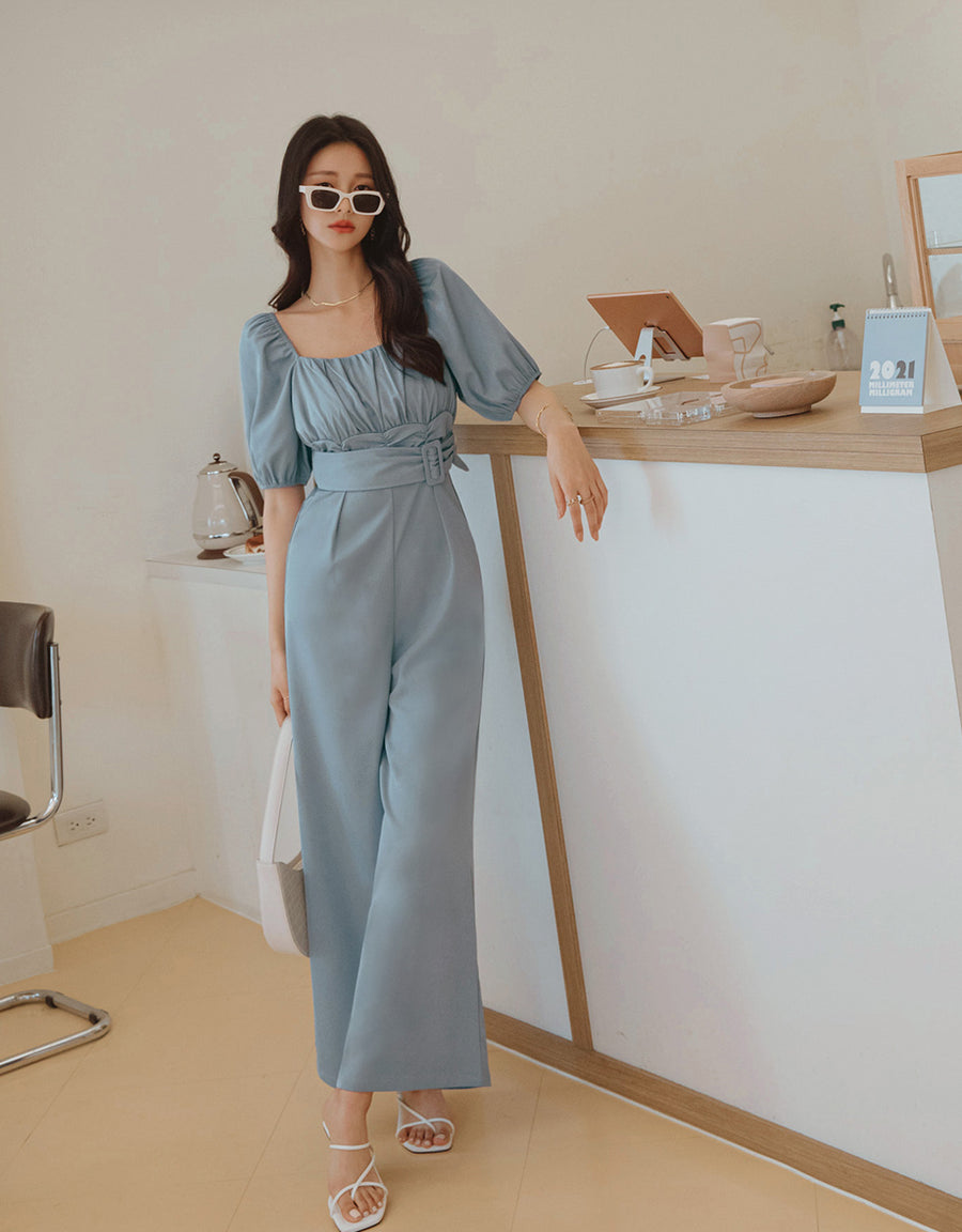 Ruched Puffy Sleeves Jumpsuit
