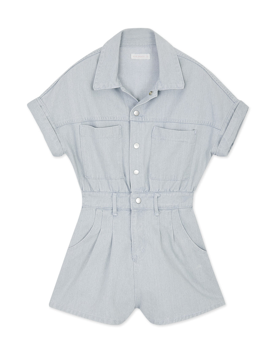 Cargo-Inspired Denim Playsuit