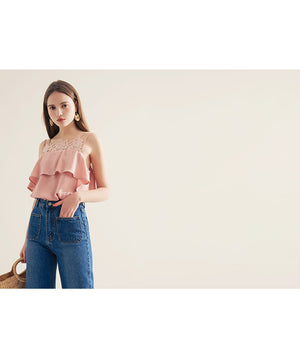 Lace Jacquard Double Strap Top