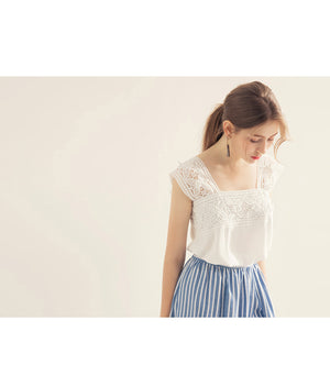 Lace Jacquard Strap Top