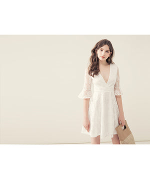 Lace Jacquard Fluted Sleeve Mini Wrap Dress
