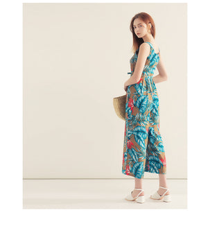 V Neck Printed Button Sleeveless Jumpsuit