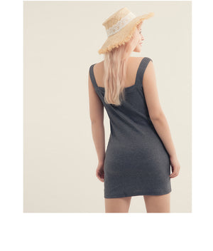 Button Rib Knit Bodycon Dress