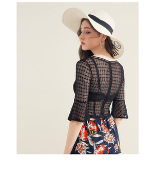 Y Neck Fluted Sleeve Lace Crop Top