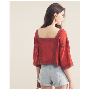 Square Neck Lace Splice Button Top