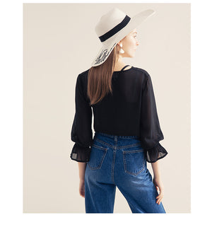 Chiffon Tassels Long Sleeve Shirt