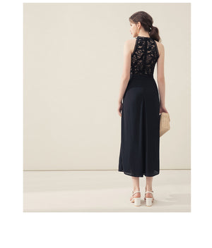 Lace Halter Neck Maxi Dress