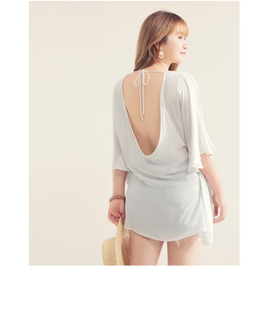 V Neck Loose Sleeve Open Back Tunic Top