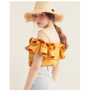 Cami Strap Double Ruffle Top